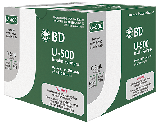 BD™ U-500 Insulin Syringe With BD Ultra-Fine™ 6mm™ Needle - BD